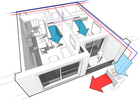 one bedroom: Perspective cut away diagram of a one bedroom apartment completely furnished with two indoor wall air conditioner and central external unit situated outside Illustration