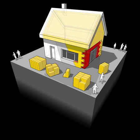 insulation: diagram of a detached house with additional wall and roof insulation