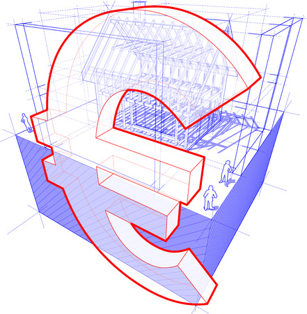 dimensions: 3d illustration of diagram of a framework construction of a detached house with 3D dimensions and euro currency sign Illustration