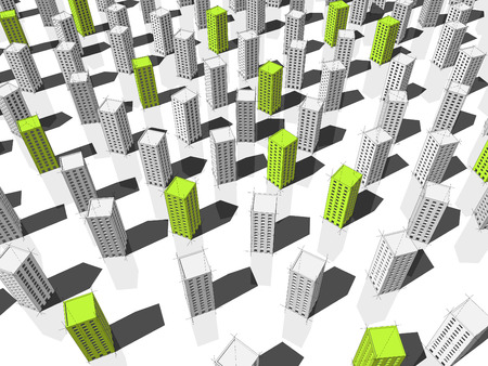 monotony: green ecological apartment houses or office buildings standing out from others