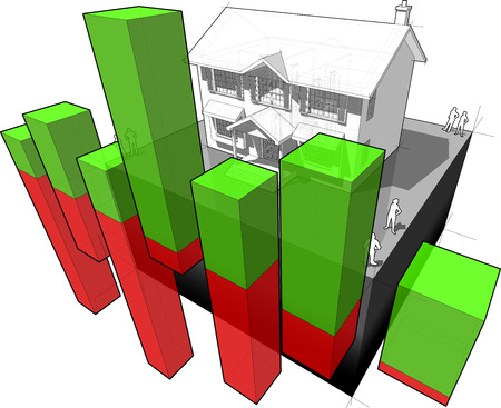 incremento: Diagrama de una casa colonial clásica con el diagrama de negocio abstracto