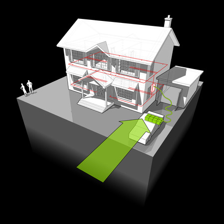 colonial house: diagram of a classic colonial house powered by battery from electro car