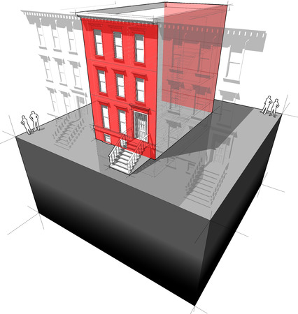 """Diagram of a typical american townhouse (aka """"brownstone"""") with additional wall insulation - to improve energy efficiency of the building Illustration"""