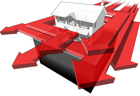 diagram of a classic colonial house and many arrows speeding around the house in an abstract business diagram with one green arrow and the rest are red arrows