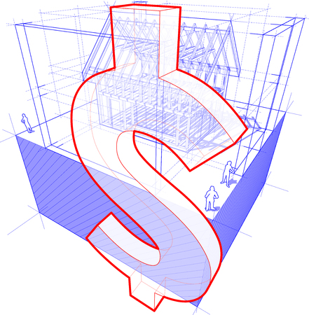 rafter: 3d illustration of diagram of a framework construction of a detached house with 3D dimensions and dollar currency sign Illustration