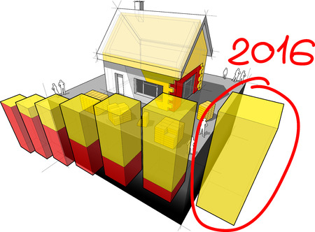 insulation: 3d illustration of diagram of a detached house with additional wall and roof insulation and hand drawn note 2016 over last diagram bar Illustration