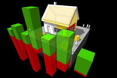 insulation: diagram of a detached house with additional wall and roof insulation with abstract business diagram