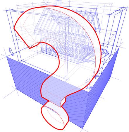 point d interrogation: 3d illustration du schéma d'une construction cadre d'une maison individuelle avec des dimensions 3D et point d'interrogation