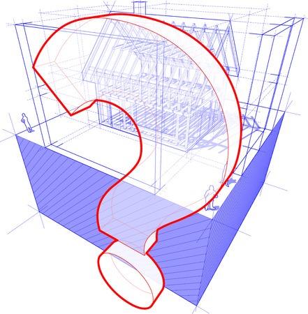 questionmark: 3d illustration of diagram of a framework construction of a detached house with 3D dimensions and question mark symbol