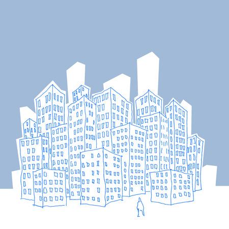 bocetos de personas: hombre solitario que se coloca delante de la gran ciudad llena de rascacielos en el anonimato Vectores