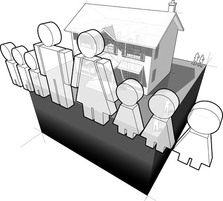 family man: diagram of a classic colonial house and family sign composed of man and wife and six children