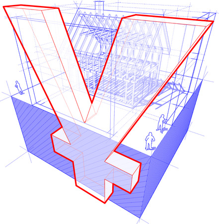 rafter: 3d illustration of diagram of a framework construction of a detached house with 3D dimensions and yen or yuan currency sign