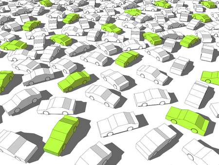 perplexity: Green ecological cars standing out from others