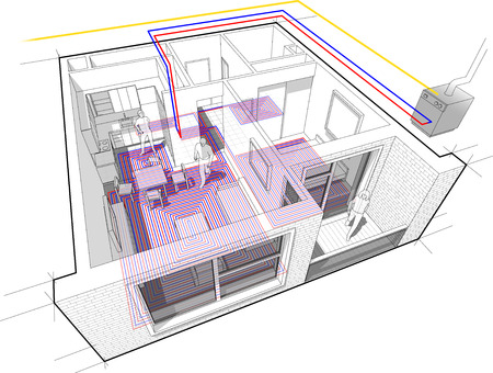 condo: Perspective cutaway diagram of a one bedroom apartment completely furnished with hot water underfloor heating and gas water boiler as source of energy for heating