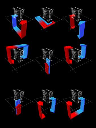 verzameling van negen warmtepomp schema's op bijvoorbeeld van het appartement huis toont de mogelijkheden van het gebruik van de warmtepomp
