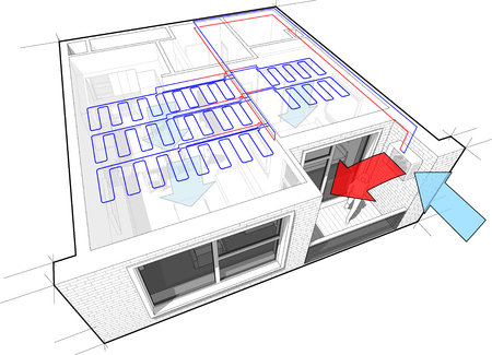 chiller: Perspective cutaway diagram of a one bedroom apartment completely furnished with ceiling cooling and external unit situtead on the balcony or loggia Illustration