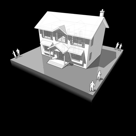 casa colonial: diagram of a classic colonial house Vectores