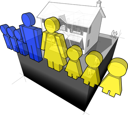 diagram of a classic colonial house and family sign composed of man and wife and six children