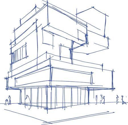 disegnata a mano disegno architettonico di un edificio moderno con la gente intorno