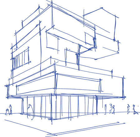building sketch: hand drawn architectural sketch of a modern building with people around