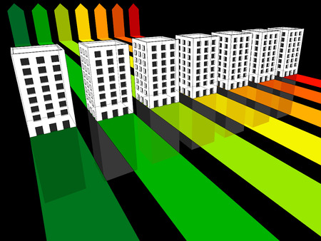 seven apartment houses or office buildings certified in seven energetic classes in energy rating diagram