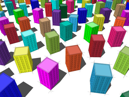 superstructure: colorful apartmen houses standing chaotically on the ground Illustration