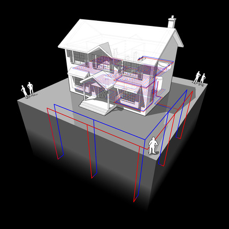 hot water geothermal: diagram of a classic colonial house with floor heating and ground source heat pump as source of energy for heating and floor heating Illustration