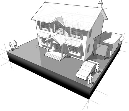 colonial: diagram of a classic colonial house with garage and car Illustration