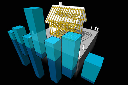 economic interest: simple detached house with wooden framework construction with abstract business diagram Illustration