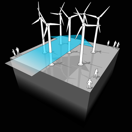 windpower: diagram of a wind turbine farm with wind arrow Illustration