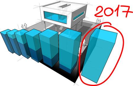 상승 다이어그램과 함께 현대 집의 다이어그램과 손으로 그려진 된 노트 2017 마지막 다이어그램 막대 위에