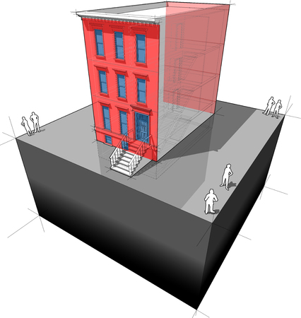 Diagram of a typical american brownstone townhouse with additional wall insulation and new Windows  to improve energy efficiency of the building