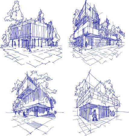architectural design: four hand drawn sketches  of abstract modern building with lots of greenery and  trees on the roof and walls