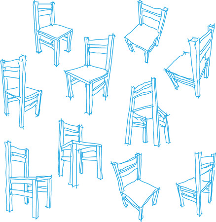 wooden chair: collection of ten hand drawn drawings of a simple wooden chair