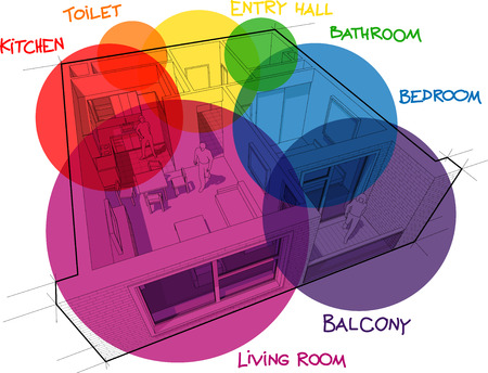Perspective cut away diagram of a one bedroom apartment completely furnished with circular colorful zone bubbles and hand drawn notes over it Illustration