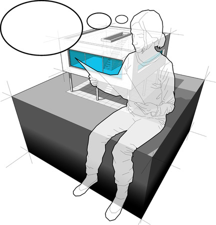 functionalism: diagram of a modern house and sitting woman reading paper in front of it with comic thought bubble