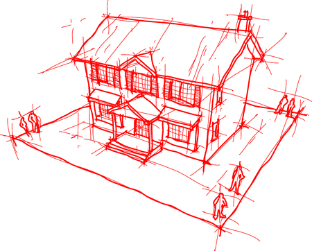 casa colonial: architectural sketch or hand drawing of classic colonial house