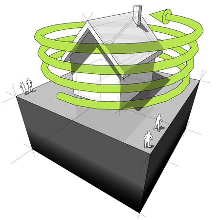 green issue: Diagram of a house with green spiral arrow Illustration
