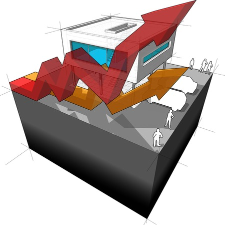 house exchange: Diagram of a modern house or villa  with rising business arrows