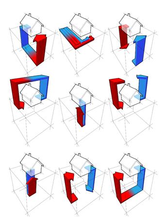 collection de neuf schémas de la pompe à chaleur sur exemple d'une maison individuelle montrant les possibilités d'utilisation de la pompe à chaleur