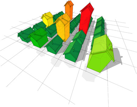 field of 25 transparent simple detached houses with different height on rectangular  grid composed of squares in colors of energy rating diagram