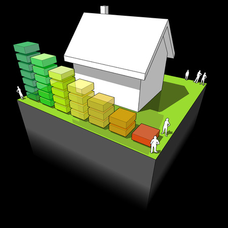 green issue: diagram of a detached house with energy rating bar diagram