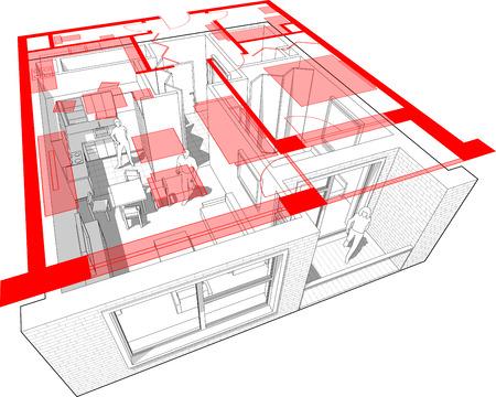 Perspectiefschema van een appartement met een slaapkamer, volledig ingericht met een bovenaanzicht van een rode plattegrond