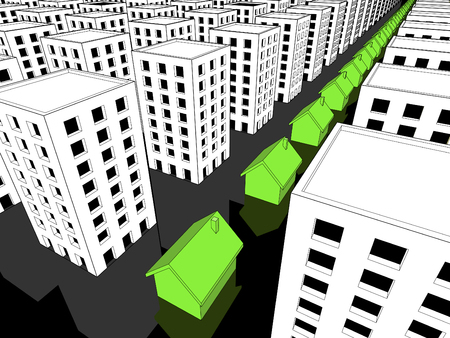 urbanism: Row of green ecological houses surrounded by many blocks of flats