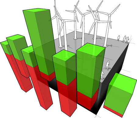 Diagram of a wind turbine farm with abstract business diagram Illustration