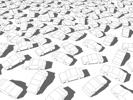 perplexity: many white cars in giant traffic jam
