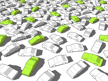 perplexity: Green ecological cars standing out from others in giant traffic jam