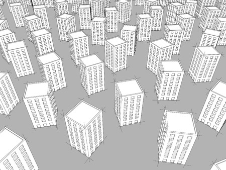 monotony: many white apartment buildings standing chaotically on black ground