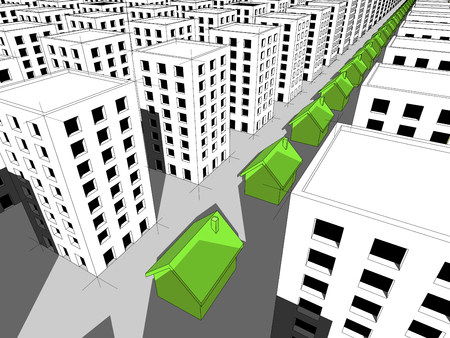 Row of green ecological houses surrounded by many blocks of flats