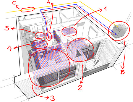 Perspective cutaway diagram of a one bedroom apartment completely furnished.
